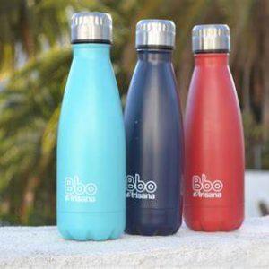Ampolla termo reutilitzable Bbo Irisana. Acer inoxidable amb funda de neopré de regal. 500ml Roig/Blau/Turquesa